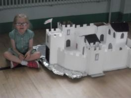 The P2 children show off their castles